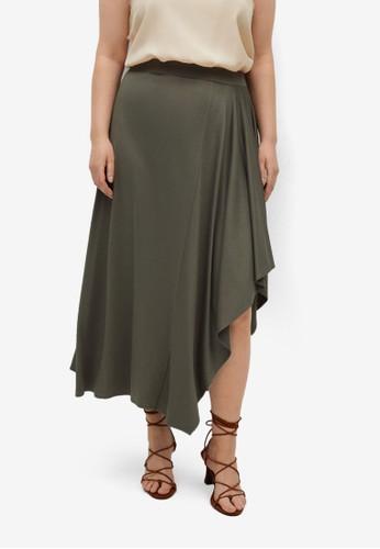 Violeta by MANGO green Flared Midi Skirt BF698AA71F06F4GS_1