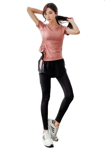YG Fitness multi (3PCS) Quick-Drying Running Fitness Yoga Dance Suit (Tops+Bra+Bottoms) 920A0USAFF632CGS_1