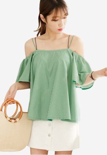 Sesura green Strappy Gingham Frilly Top F45B4AA4F15D6BGS_1