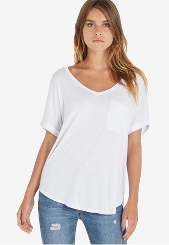 Cotton On white Karly Short Sleeve V Neck Top 57C84AA15D4ECAGS_1