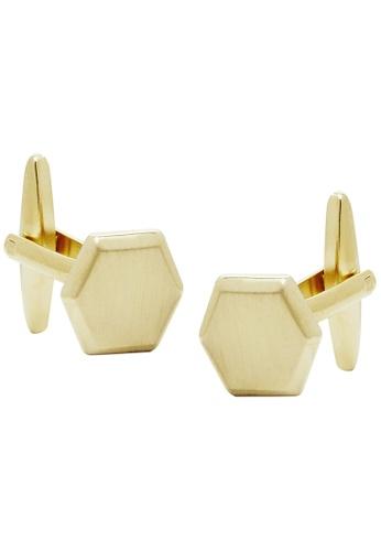 Buckle gold Gold Hexagon Cufflinks 3A1F9AC80B46C1GS_1