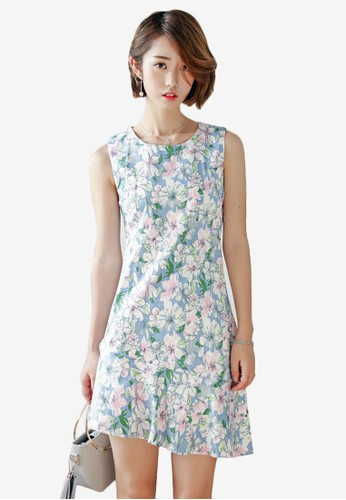 Hortencia 碎花無袖魚尾裙esprit高雄門市洋裝, 服飾, 洋裝