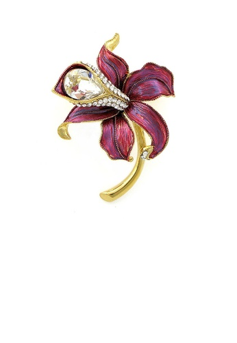 Glamorousky silver Flower Brooch with Silver Austrian Element Crystal and CZ E0433ACAA64EC0GS_1