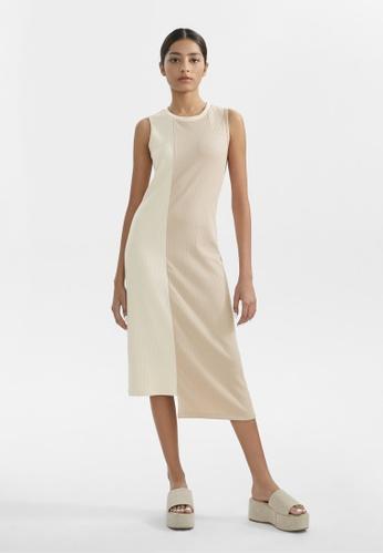 Pomelo beige Two Tone RIbbed Asymmetric Dress - Beige DA5F0AA354149AGS_1