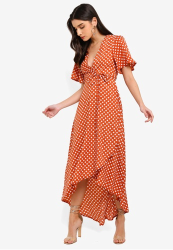 b8531eeb86 Shop MISSGUIDED Polka Dot Wrap Front Low High Midi Dress Online on ZALORA  Philippines