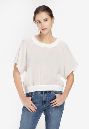 Hopeshow white Mid Sleeve Top with Back Ribbon 17CA8AA2C06B48GS_1