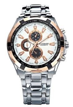 Curren 8023 Tungsten Steel Band Round Dial Men's Quartz Wrist Watch
