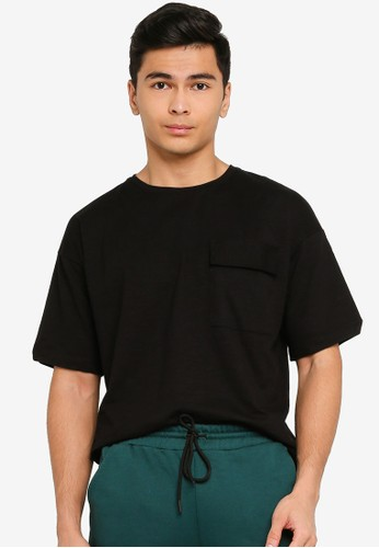 UniqTee black Drop Shoulder Top with Pocket detail 6BC34AAD99E7F5GS_1
