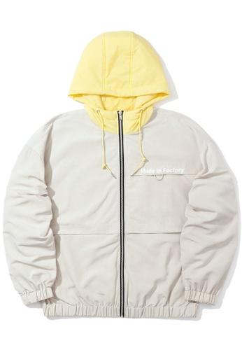 """Fivecm beige """"Made In Factory"""" windbreaker jacket B317AAA52731A8GS_1"""