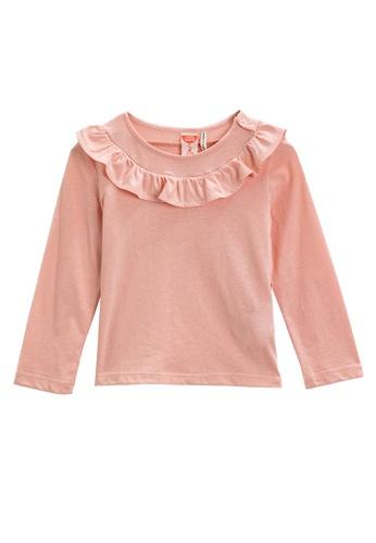 KOTON pink Cotton Long Sleeves Ruffle Top F17C7KA5BB0556GS_1
