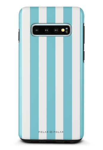 Polar Polar blue Baby Blue Stripe Samsung Galaxy S10 Dual-Layer Protective Phone Case (Glossy) 18B2DACDF07240GS_1