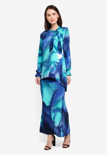 Zuco Fashion blue Mini Kurung Tuxedo with Hi-Lo Style Top D9F68AA23B4379GS_1