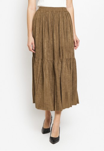 Just Out brown Tarissa Plisket Skirt BB27EAAC357923GS_1