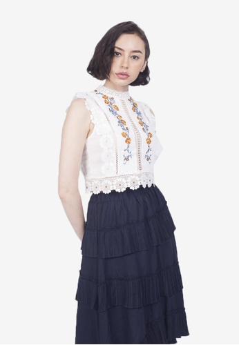 Caoros white Embroidered Lace Top 9B65BAADEAA454GS_1