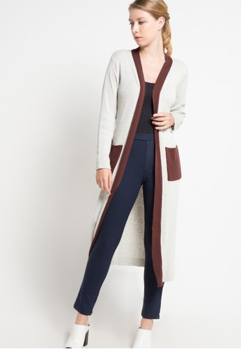 VOYANT BY MEGUMI grey and brown Combined Cardigan Pocket Long Sleeves VO505AA35QYYID_1