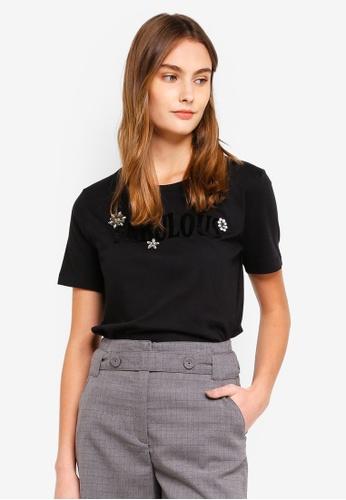 ESPRIT black Rhinestone Velvet Print T-Shirt E6CF6AA31F1E7BGS_1