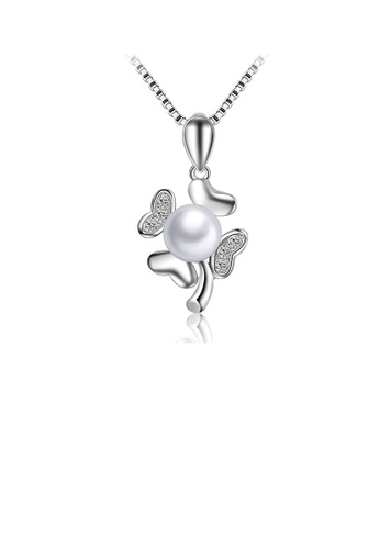 Glamorousky white 925 Sterling Silver Mother's Day Clover Fashion Pearl Pendant with Necklace 9A7ECAC74A5D9CGS_1