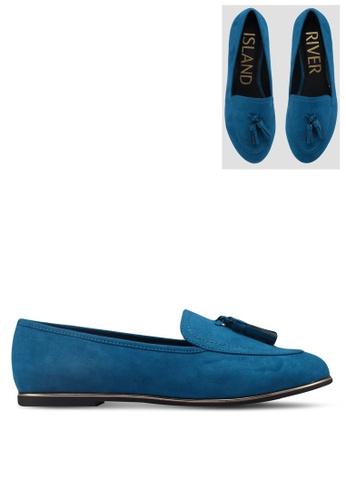 River Island blue Blue Suede Loafers 5D893SH271C453GS_1