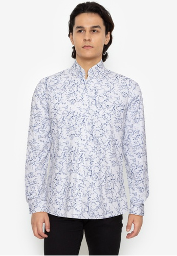Kenneth Cole white Shirt In Cambric Linen Fabric With Print Design 424D9AADBF8D71GS_1
