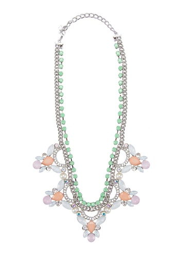 Zolace white and orange and green and purple and multi Delicate Drops Necklace ZO350AC05AOKMY_1