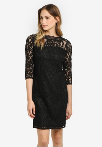 Wallis black Slash Neck Lace Shift Dress WA800AA0RSRLMY_1