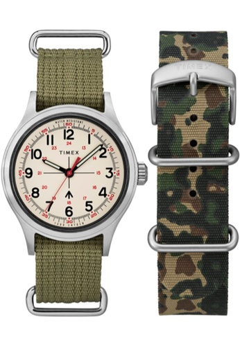 TIMEX green and silver Timex x Todd Snyder Military 40mm - Silver-Tone Case, Green Fabric Strap (TWG017800) 290CCAC9600678GS_1