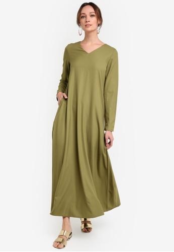 Tsyahmi for ZALORA green Basic Maxi Dress TS528AA22ZBHMY_1