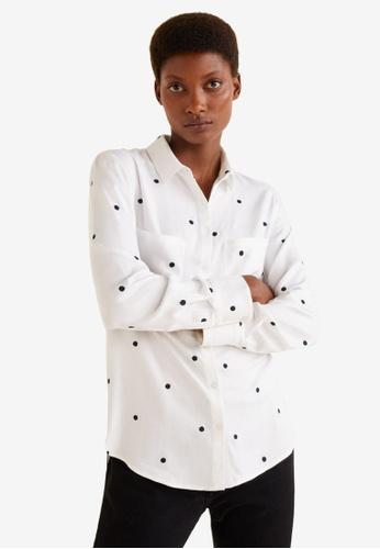 Mango white Chest-Pocket Printed Shirt 3075DAA3817BC1GS_1