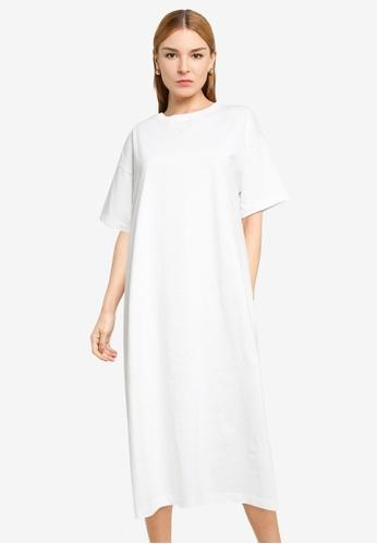 LOWRYS FARM white Basic Long T-shirt Dress 21434AA18C68B2GS_1