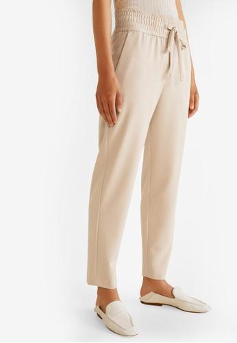 Mango beige Ruched Waist Trousers FA8FEAAF7064AEGS_1