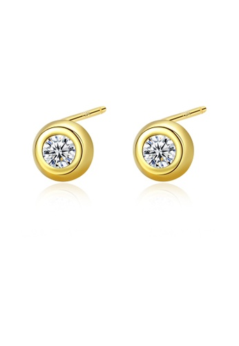 SUNRAIS gold High quality Silver S925 gold simple design earrings A38E1AC6FD9A2BGS_1