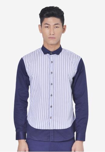 Private Stitch navy Stylish Shirt With Horizontal Dolby Stripe PR777AA02QUVMY_1