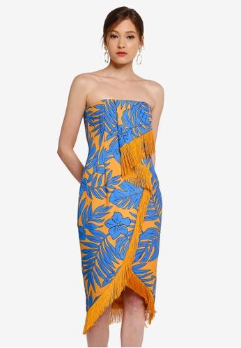 Lavish Alice multi Origami Folded Bandeau Midi Dress With Fringe Trim 19207AA8AA29C7GS_1