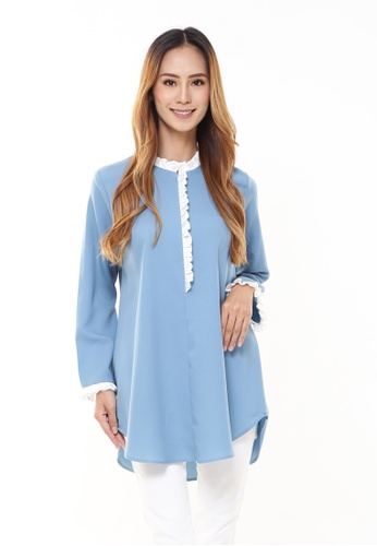 Rina Nichie Basic blue Jane Ruffle Tunic in Dusty Blue 825AEAAB19A30DGS_1