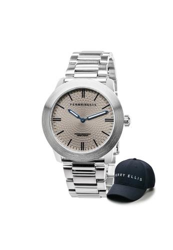 Perry Ellis silver Perry Ellis Slim Line Unisex 42mm Quartz Stainless Steel Watch 07003-02 with Perry Ellis Cap EC9E3ACAE62B4AGS_1