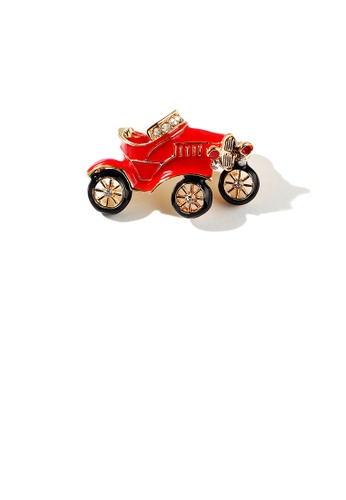 Glamorousky white Fashion Creative Plated Gold Enamel Red Antique Car Brooch with Cubic Zirconia 0816BACAFD9D31GS_1