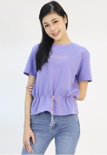 Cheetah purple Cheetah Ladies Short Sleeve Drawstring Top - CL-95068 D793AAAB3BD374GS_1