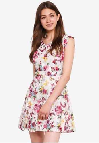 Mela London white Printed Lace Dress 4B173AA38EC380GS_1