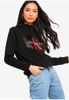 0283fa4320d7 A-Mono Satin Box Sweatshirt - Calvin Klein Jeans 1CB3FAA4CB5DE8GS 1