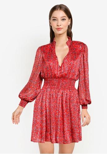 Goddiva red V-Neck Shirred Waist Tea Dress 0B1FAAAABE0898GS_1