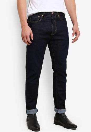 Burton Menswear London navy Indigo Washed Carter Tapered Leg Jeans BU964AA0S5MDMY_1
