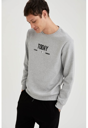 DeFacto grey Man Knitted Sweat Shirt 2EA69AA4C33AE7GS_1