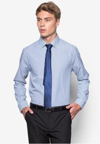 條紋長袖襯衫領帶esprit台灣outlet組合, 服飾, 服飾