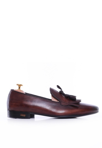 Zeve Shoes brown Zeve Shoes Loafer Slipper - Dark Brown With Fringe Tassel (Hand Painted Patina) 3AADASH571D79BGS_1