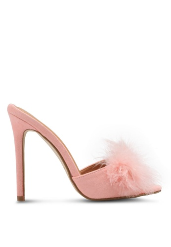 MISSGUIDED pink Feather Vamp Heeled Mules MI511SH0SP81MY_1