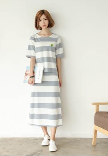 Hello 條紋兩件式esprit衣服目錄套裝, 服飾, 上衣