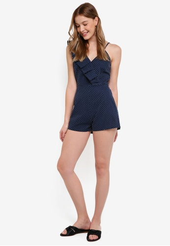 The Fifth Label blue and navy Village Playsuit DE5D9AA68F09B3GS_1