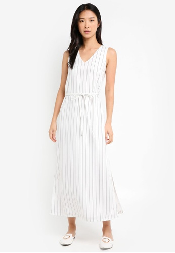 ZALORA white Self Tie Sleeveless Maxi Shift Dress 67641AADECFDEEGS_1