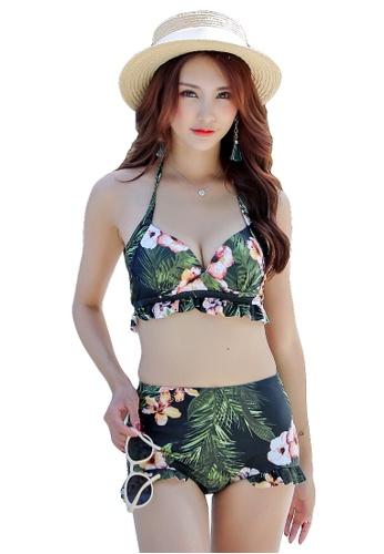 YG Fitness green and multi (3PCS) Vintage Cover Belly Bikini Set E0D37US7CDE1B3GS_1
