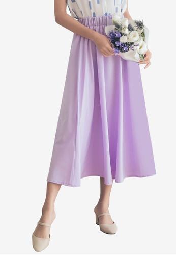 Tokichoi purple Flared Plain Maxi Skirts 3A7F7AABB56D6FGS_1